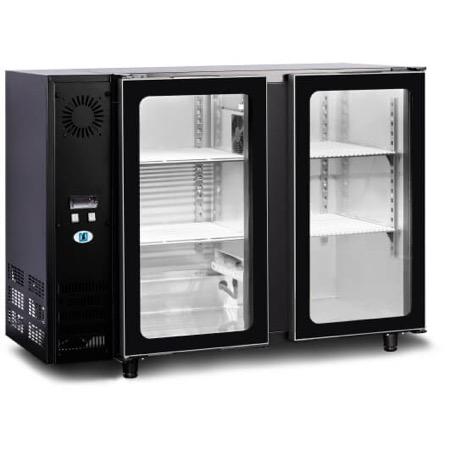 Bancone refrigerato per bottiglie 2 porte in vetro 305L